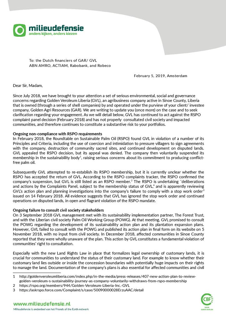 Voorbeeld van de eerste pagina van publicatie 'Oproep aan Nederlandse bedrijven: Stop met financiering van controversieel palmoliebedrijf'
