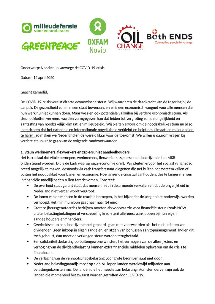 Voorbeeld van de eerste pagina van publicatie 'Brief over noodsteun vanwege de COVID-19-crisis'