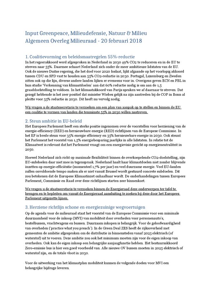 Voorbeeld van de eerste pagina van publicatie 'Input voor Algemeen Overleg Milieuraad'