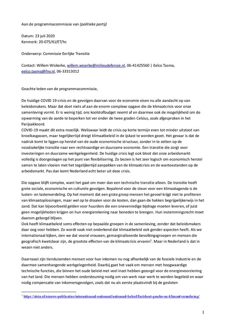 Voorbeeld van de eerste pagina van publicatie 'Brief aan de programmacommissies over de instelling van een 'Commissie voor een eerlijke transitie''