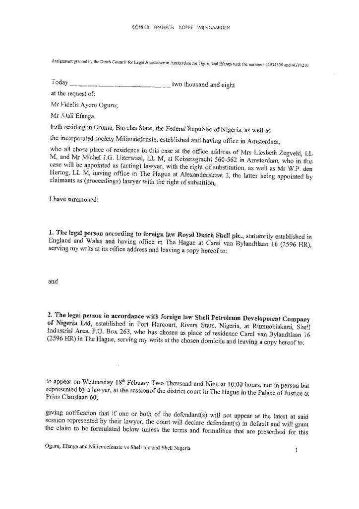 Voorbeeld van de eerste pagina van publicatie 'Dagvaarding Oruma'