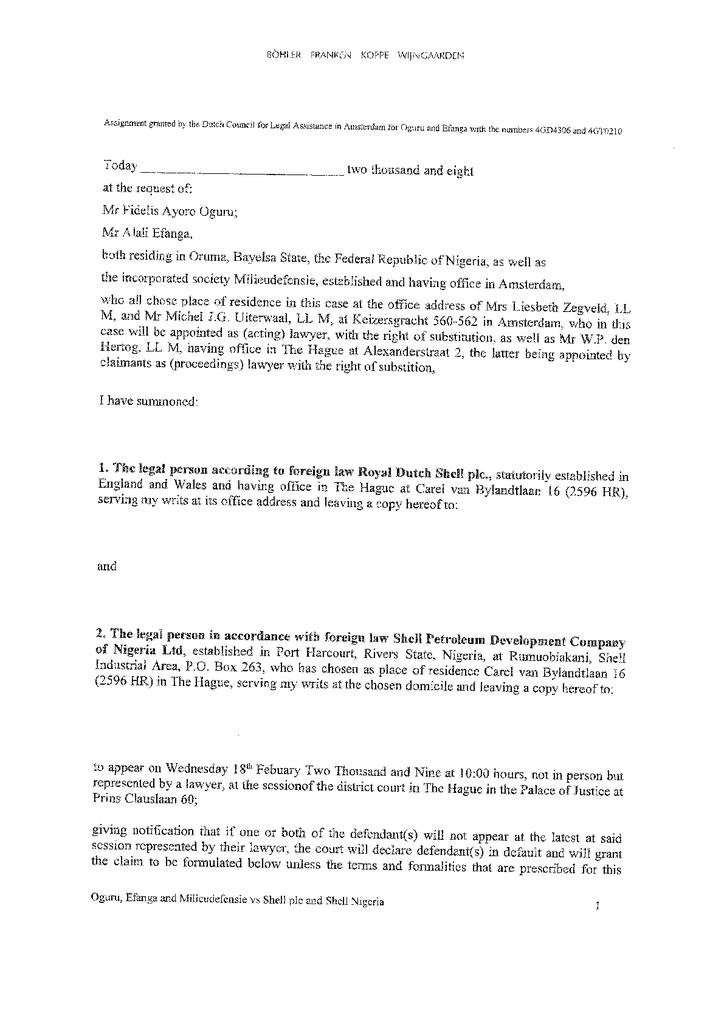 Voorbeeld van de eerste pagina van publicatie 'Shell rechtszaak: Prosecution Oruma'