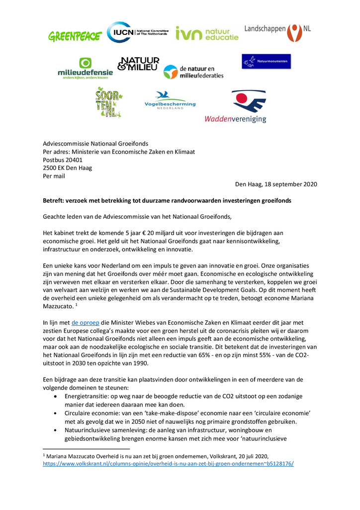Voorbeeld van de eerste pagina van publicatie 'Brief aan adviescommissie groeifonds met verzoek duurzame randvoorwaarden'