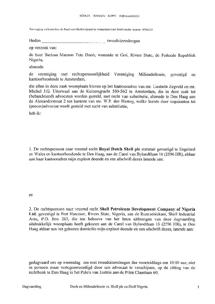 Voorbeeld van de eerste pagina van publicatie 'Shell rechtszaak: Dagvaarding Goi'