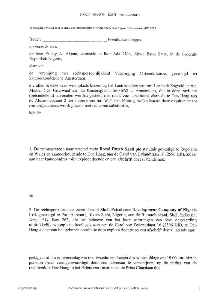 Voorbeeld van de eerste pagina van publicatie 'Rechtszaak Shell: Dagvaarding Ikot Ada Udo'