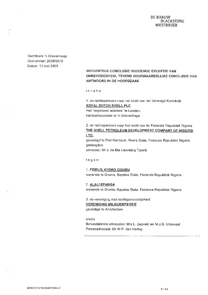 Voorbeeld van de eerste pagina van publicatie 'Antwoord Shell op dagvaardingen'