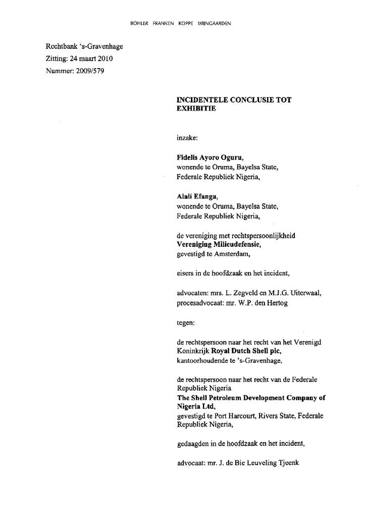 Voorbeeld van de eerste pagina van publicatie 'Incidentele conclusie tot exhibitie'