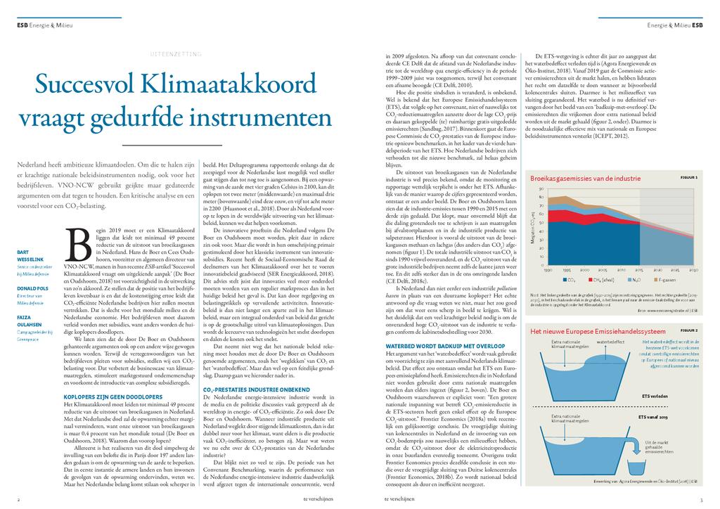 Voorbeeld van de eerste pagina van publicatie 'Succesvol klimaatakkoord vraagt gedurfde instrumenten'