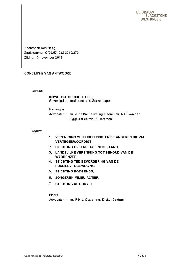 Voorbeeld van de eerste pagina van publicatie 'Conclusie van antwoord Klimaatzaak Shell'