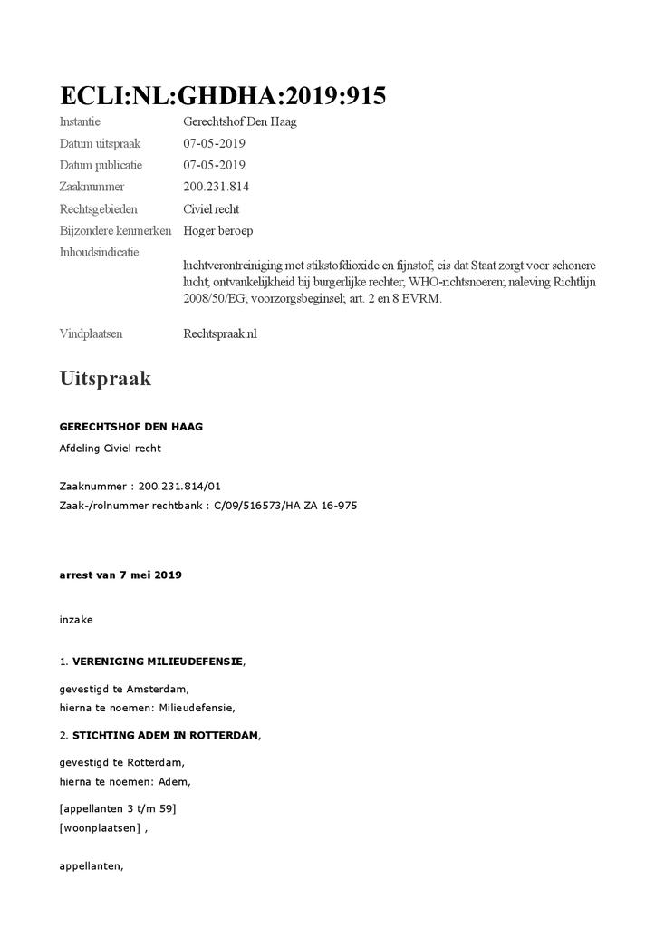 Voorbeeld van de eerste pagina van publicatie 'Rechtszaak voor gezonde lucht: uitspraak Hoger Beroep bodemprocedure'