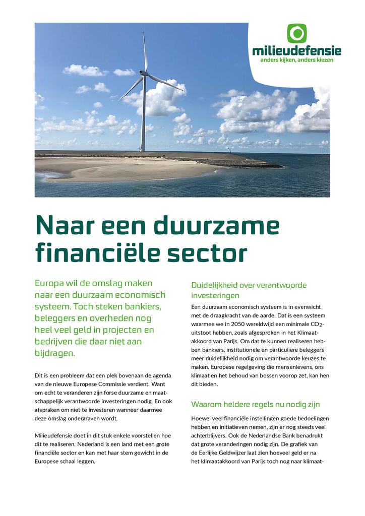 Voorbeeld van de eerste pagina van publicatie 'Naar een duurzame financiële sector'