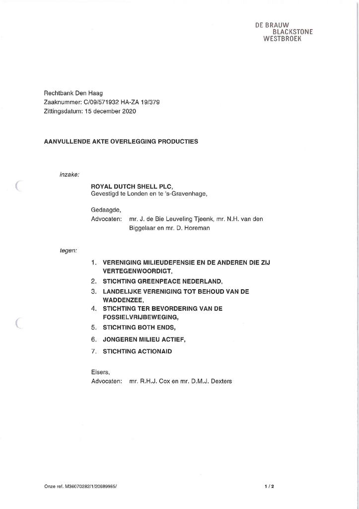 Voorbeeld van de eerste pagina van publicatie 'Akte aanvullende productie Shell'