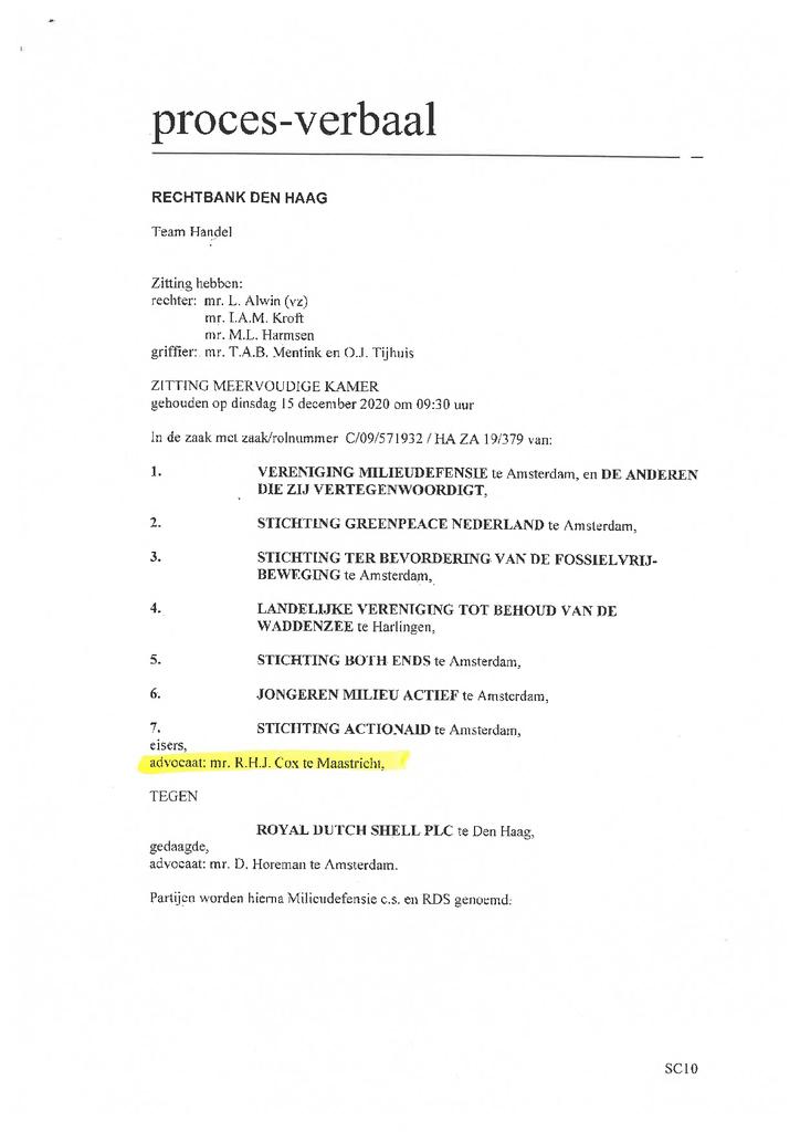 Voorbeeld van de eerste pagina van publicatie 'Proces verbaal van de rechtbank Den Haag'