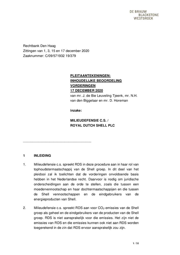 Voorbeeld van de eerste pagina van publicatie 'Inhoudelijke beoordeling vordering Shell'