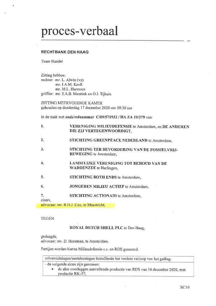 Voorbeeld van de eerste pagina van publicatie 'Proces verbaal rechtbank Den Haag Klimaatzaak Shell'