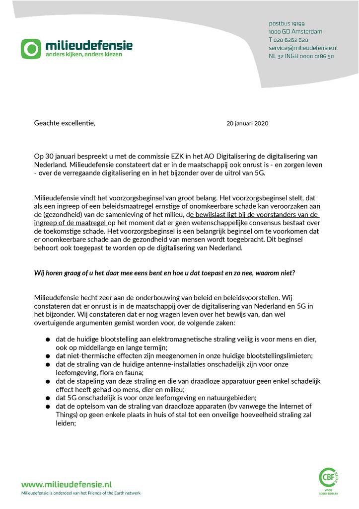 Voorbeeld van de eerste pagina van publicatie 'Brief aan de minister van Economische Zaken en Klimaat over digitalisering van Nederland'