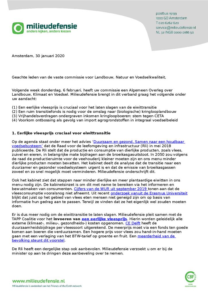 Voorbeeld van de eerste pagina van publicatie 'Brief aan de commissie voor Landbouw, Natuur en Voedselkwaliteit'