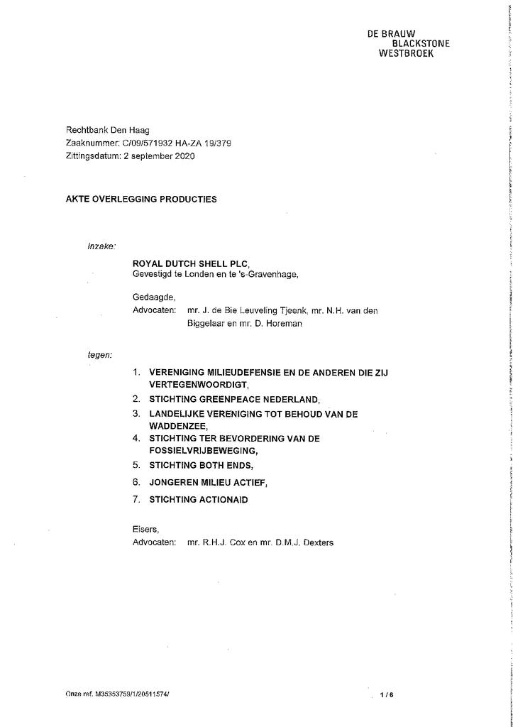 Voorbeeld van de eerste pagina van publicatie 'Akte aanvullende producties Shell'