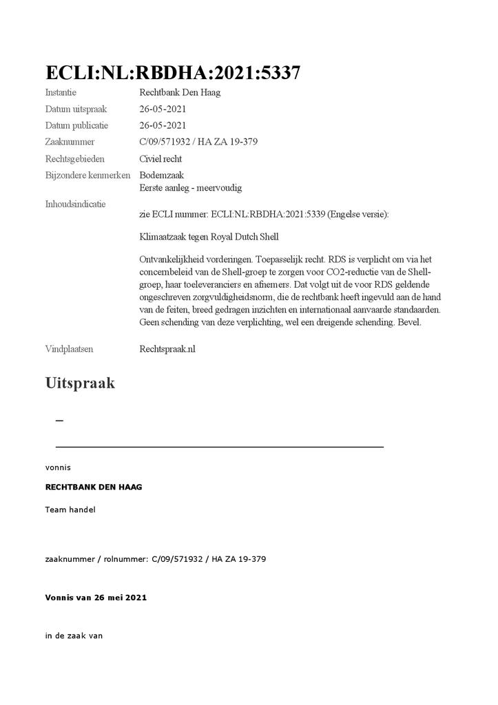 Voorbeeld van de eerste pagina van publicatie 'Het vonnis van 26 mei in de rechtszaak van Milieudefensie tegen Shell'