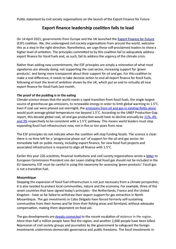 Voorbeeld van de eerste pagina van publicatie 'Lobbybrief: vergroenen exportkredietverzekering vraagt om snelle uitfasering fossiel'