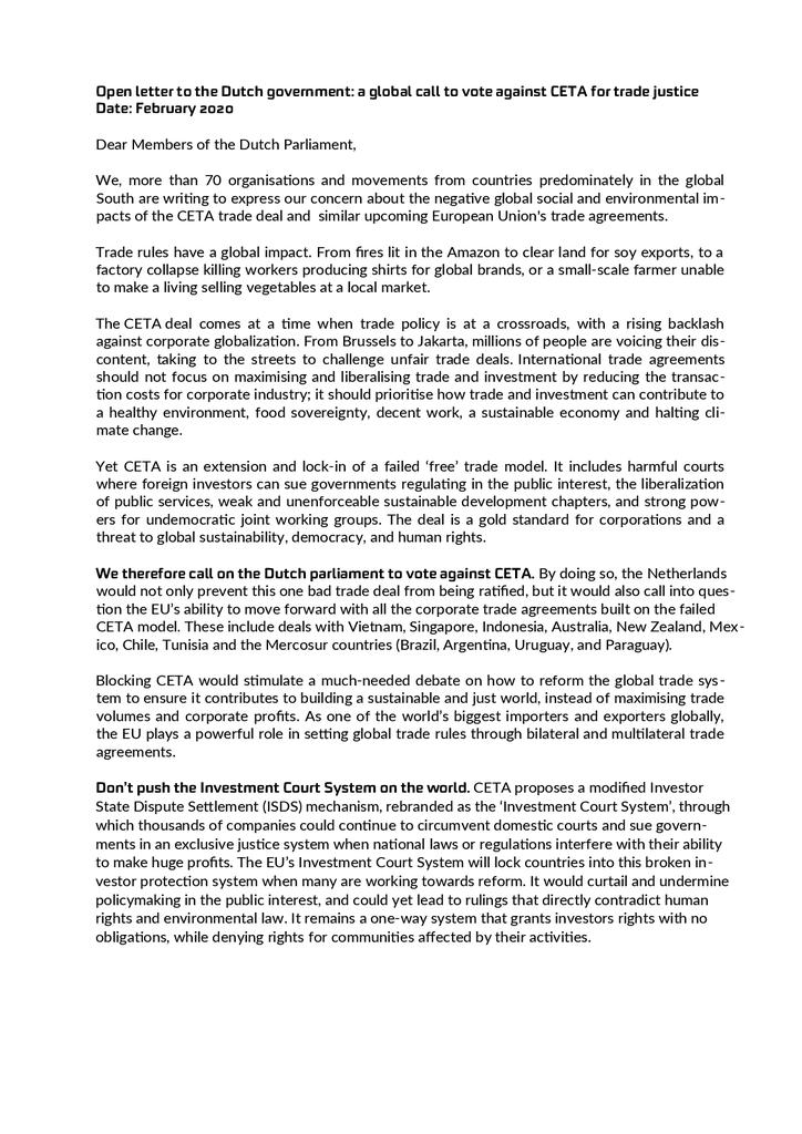 Voorbeeld van de eerste pagina van publicatie 'Oproep van 70 organisaties wereldwijd: stem tegen CETA'