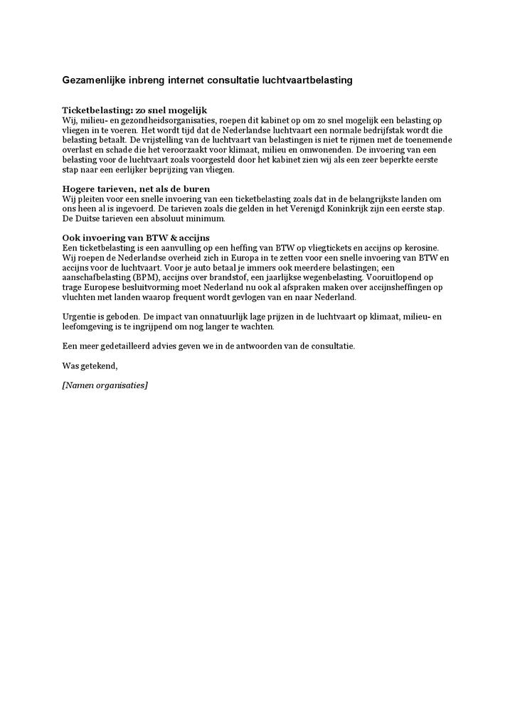 Voorbeeld van de eerste pagina van publicatie 'Aanbevelingsbrief internetconsultatie luchtvaartbelasting'