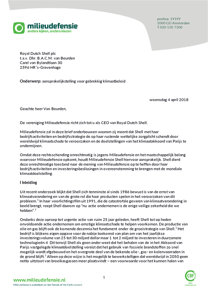 Voorbeeld van de eerste pagina van publicatie 'De brief van Milieudefensie aan Shell'
