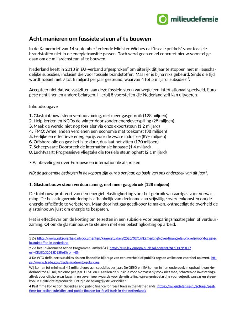 Voorbeeld van de eerste pagina van publicatie '8 manieren om fossiele steun af te bouwen'