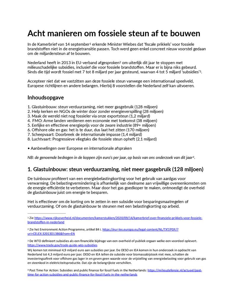 Voorbeeld van de eerste pagina van publicatie 'Brief over 8 manieren om fossiele steun af te bouwen'