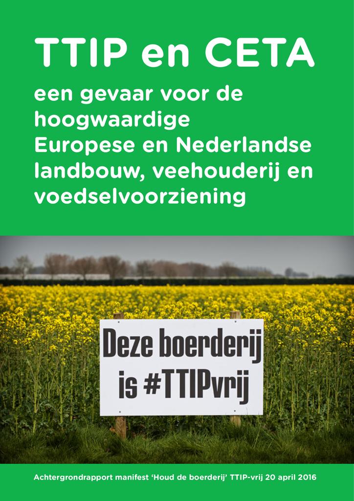 Voorbeeld van de eerste pagina van publicatie 'Achtergrondrapport Manifest Houd de boerderij TTIP-vrij'