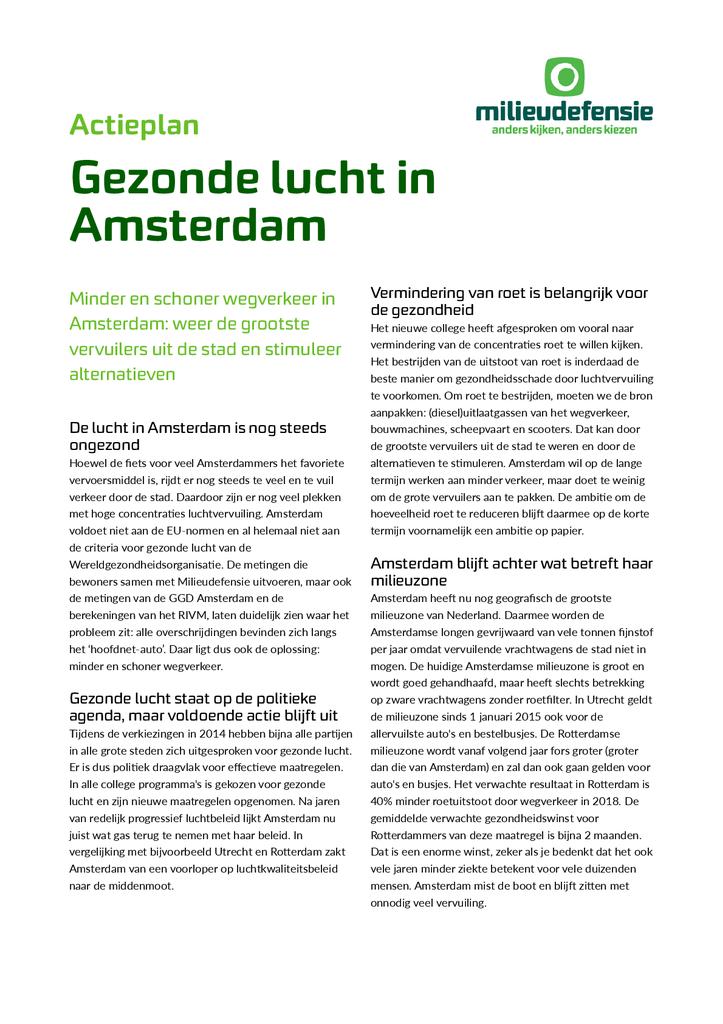 Voorbeeld van de eerste pagina van publicatie 'Actieplan Gezonde lucht in Amsterdam'