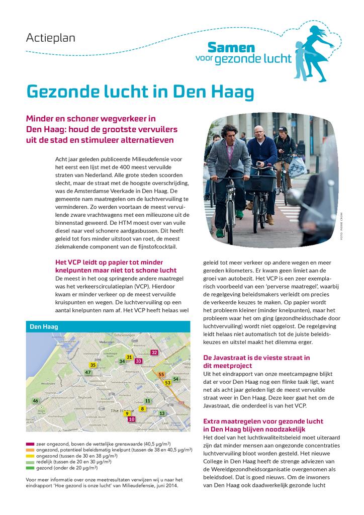 Voorbeeld van de eerste pagina van publicatie 'Actieplan Gezonde lucht in Den Haag'