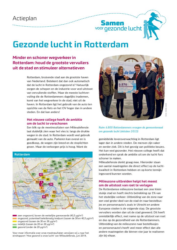 Voorbeeld van de eerste pagina van publicatie 'Actieplan Gezonde lucht in Rotterdam'