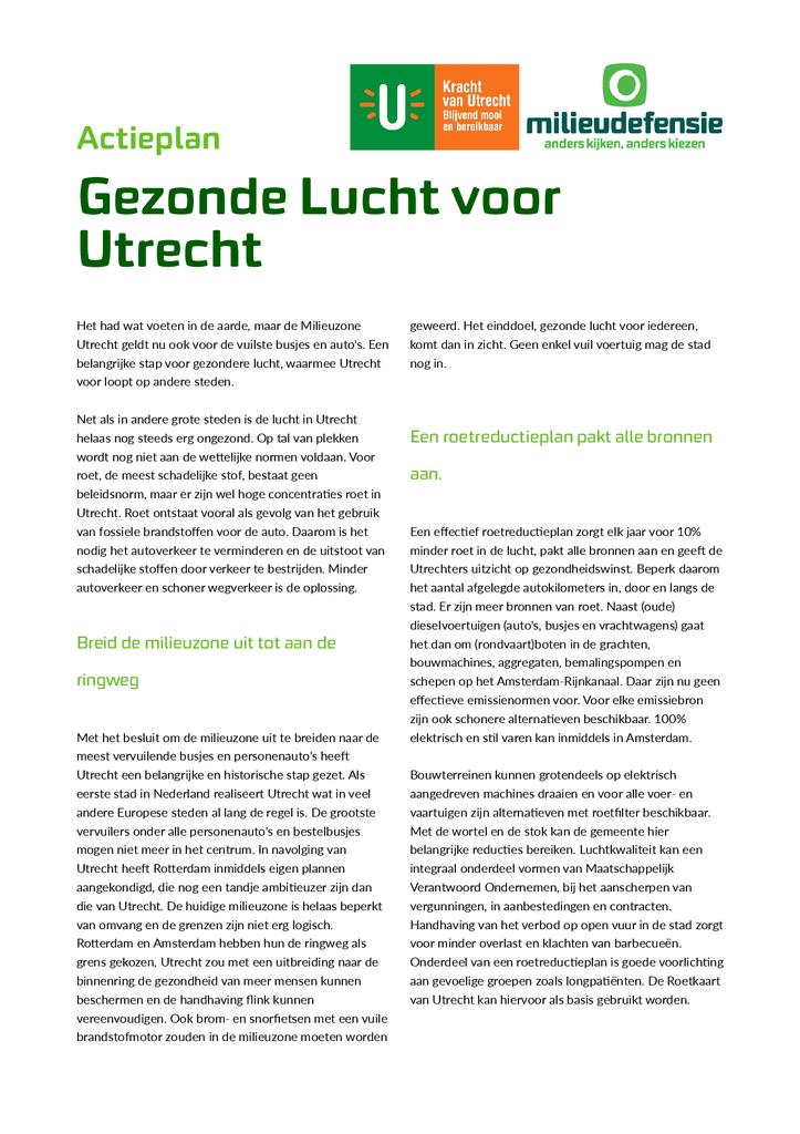 Voorbeeld van de eerste pagina van publicatie 'Actieplan Gezonde lucht in Utrecht'