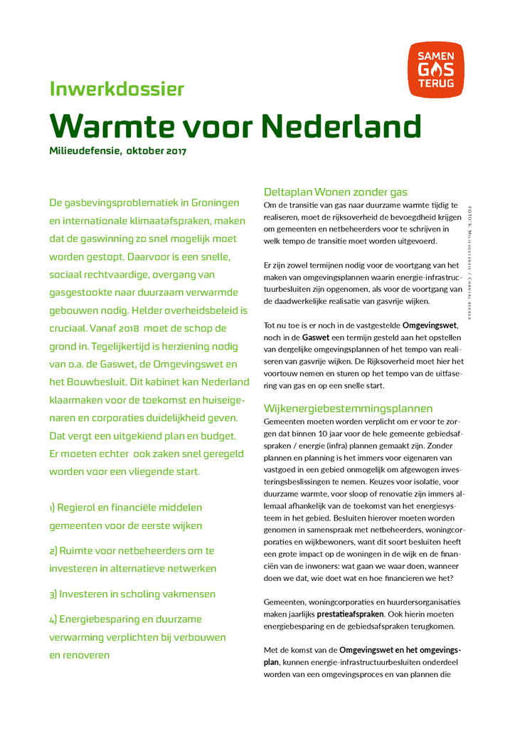 Voorbeeld van de eerste pagina van publicatie 'Actieplan Warmte voor Nederland'