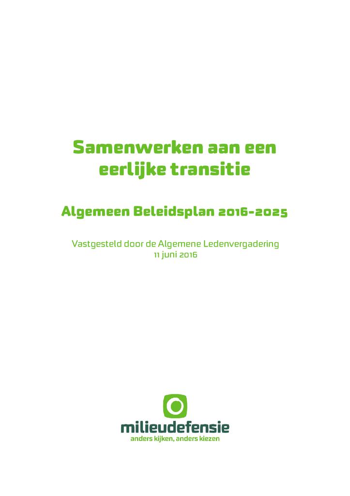 Voorbeeld van de eerste pagina van publicatie 'Algemeen Beleidsplan 2016 - 2025'