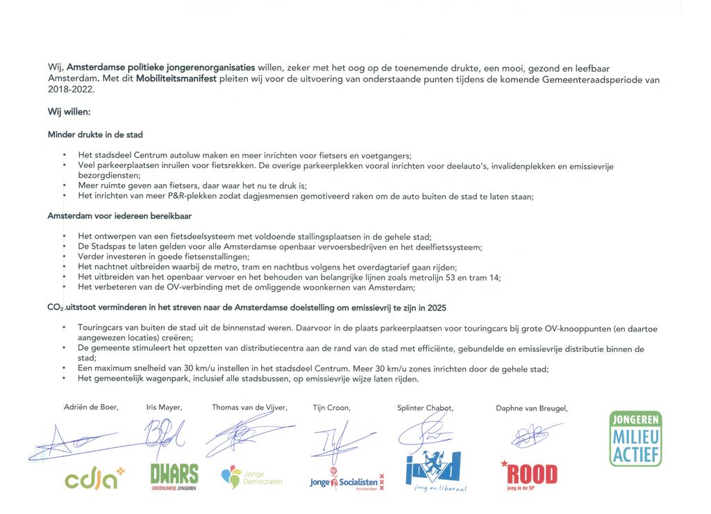 Voorbeeld van de eerste pagina van publicatie 'Amsterdams Mobiliteitsmanifest'