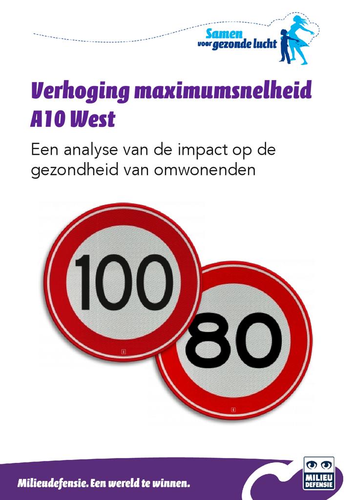 Voorbeeld van de eerste pagina van publicatie 'Analyse impact op gezondheid door snelheidsverhoging A10 West'