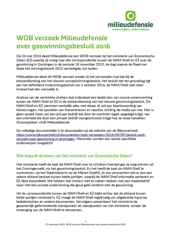 Voorbeeld van de eerste pagina van publicatie 'Analyse WOB-verzoek gaswinning'