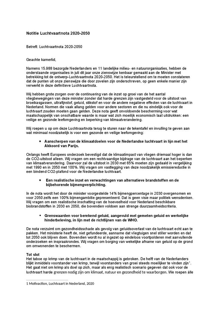 Voorbeeld van de eerste pagina van publicatie 'Brief aan Kamerleden over de Luchtvaartnota 2020-2050'