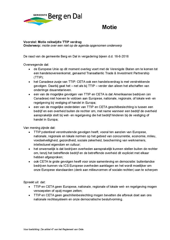 Voorbeeld van de eerste pagina van publicatie 'Motie TTIP Berg en Dal'