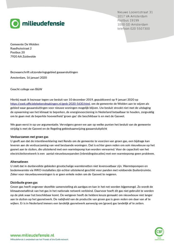 Voorbeeld van de eerste pagina van publicatie 'Bezwaarschrift tegen gasaansluitingen voor nieuwe woningen de Wolden'