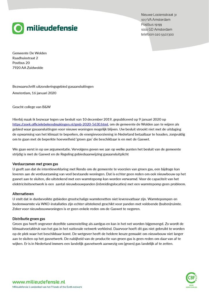 Voorbeeld van de eerste pagina van publicatie 'Bezwaarschrift Groen Gas in De Wolden'