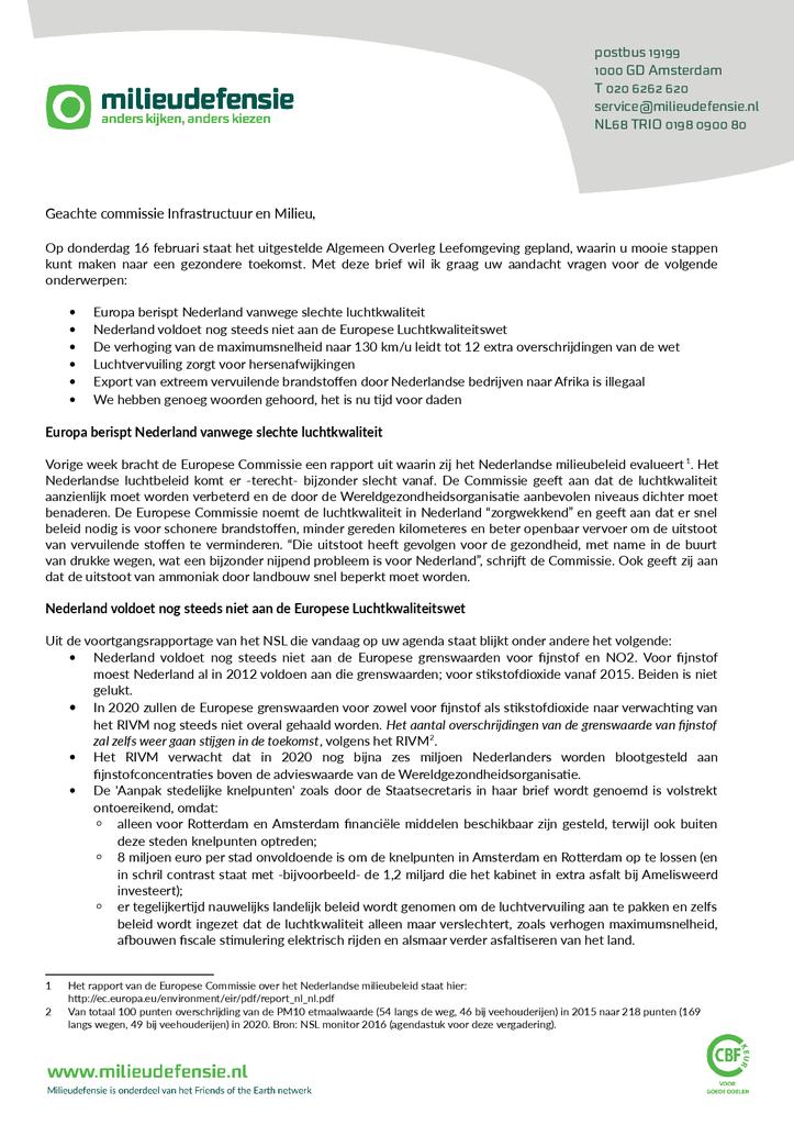 Voorbeeld van de eerste pagina van publicatie 'Brief aan de commissie infrastructuur en milieu'