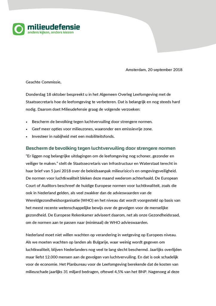 Voorbeeld van de eerste pagina van publicatie 'Zo wil Milieudefensie de leefomgeving verbeteren'