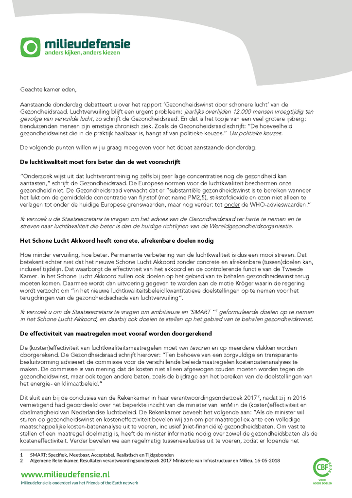 Voorbeeld van de eerste pagina van publicatie 'Brief aan Kamerleden over het rapport 'Gezondheidswinst door schonere lucht' van de Gezondheidsraad'