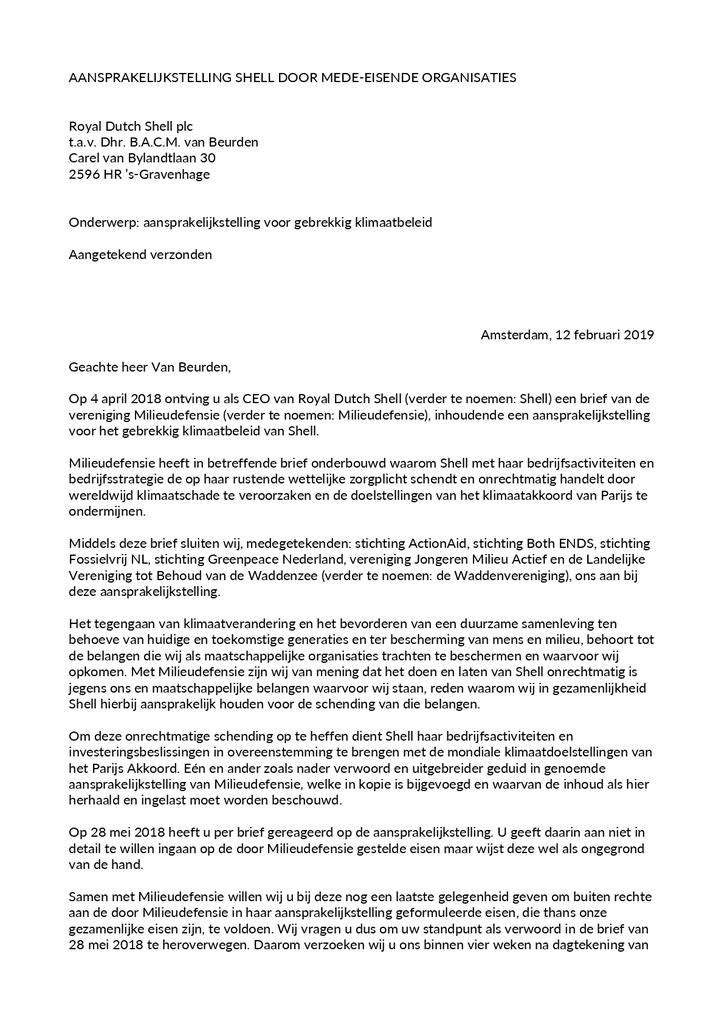 Voorbeeld van de eerste pagina van publicatie 'Brief van 6 organisaties aan Shell'