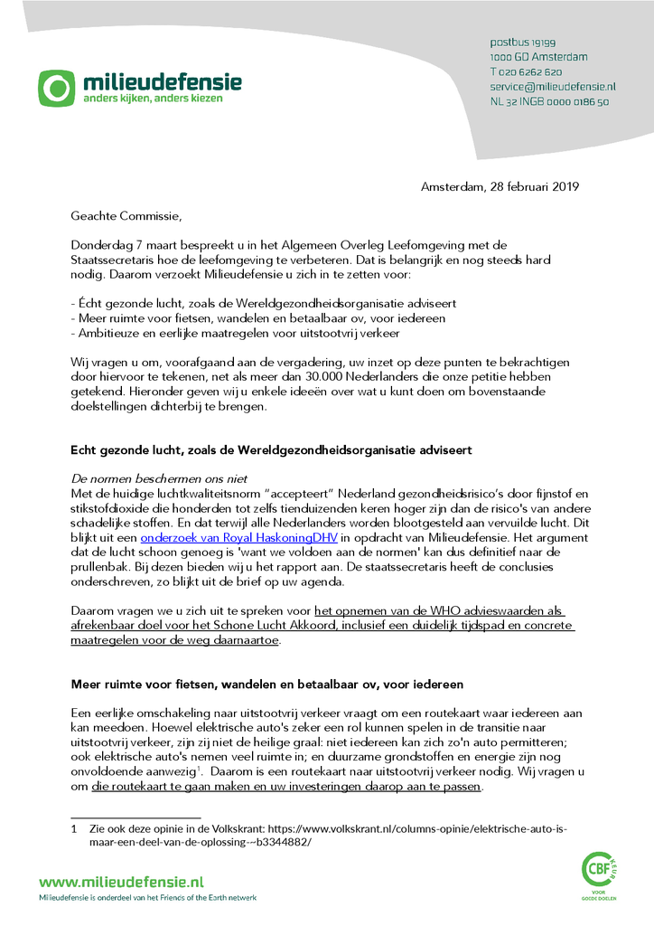 Voorbeeld van de eerste pagina van publicatie 'Brief aan Tweede Kamerleden over onze leefomgeving'