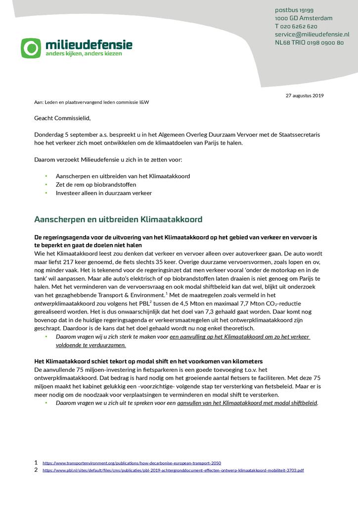 Voorbeeld van de eerste pagina van publicatie 'Brief aan de Commissie over verkeer en vervoer'
