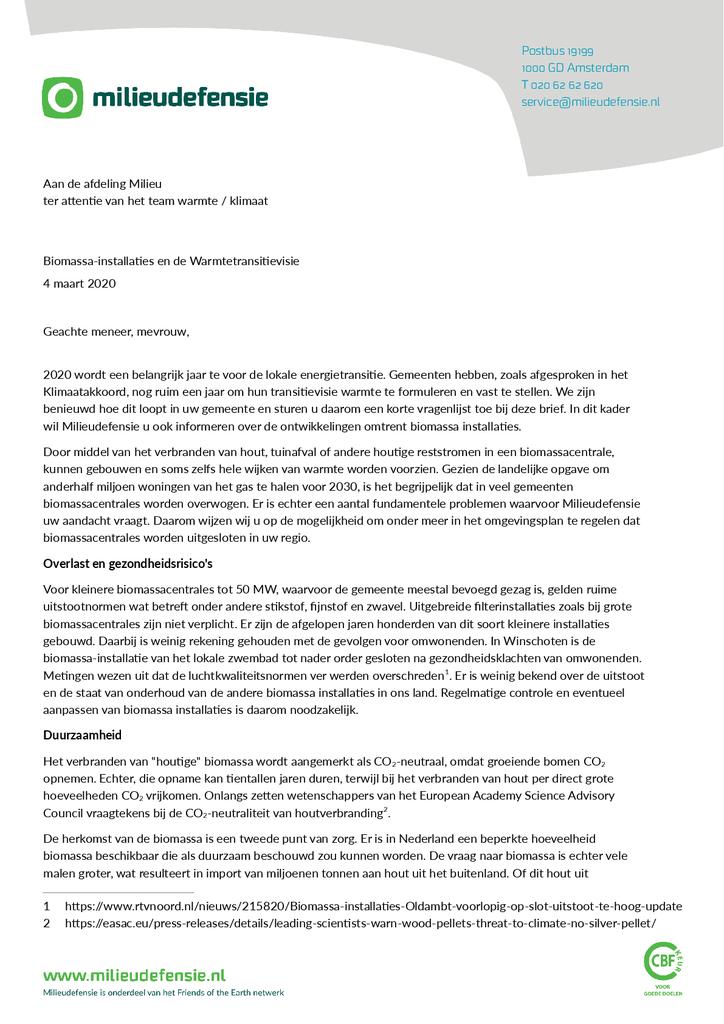 Voorbeeld van de eerste pagina van publicatie 'Brief aan gemeenten over biomassa-warmtetransitie'